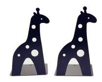Cute Cartoon Giraffe Shape Nonskid Metal Bookends for Kids Gift Decoration(Black)