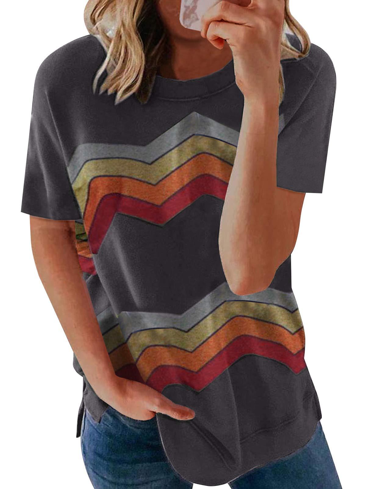 Bequemer Laden Women's Casual Summer Short Sleeve Crewneck Shirts Tops Blouse Basic Tee T-Shirt