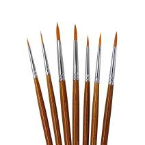 SEEFOUN 7 pcs Handmade Professional Detail Paint Brush Set,Anti-Shedding Nylon Hair for Acrylic, Oil, Watercolor and Gouache, Nice Gift for Artists, Adults & Kids