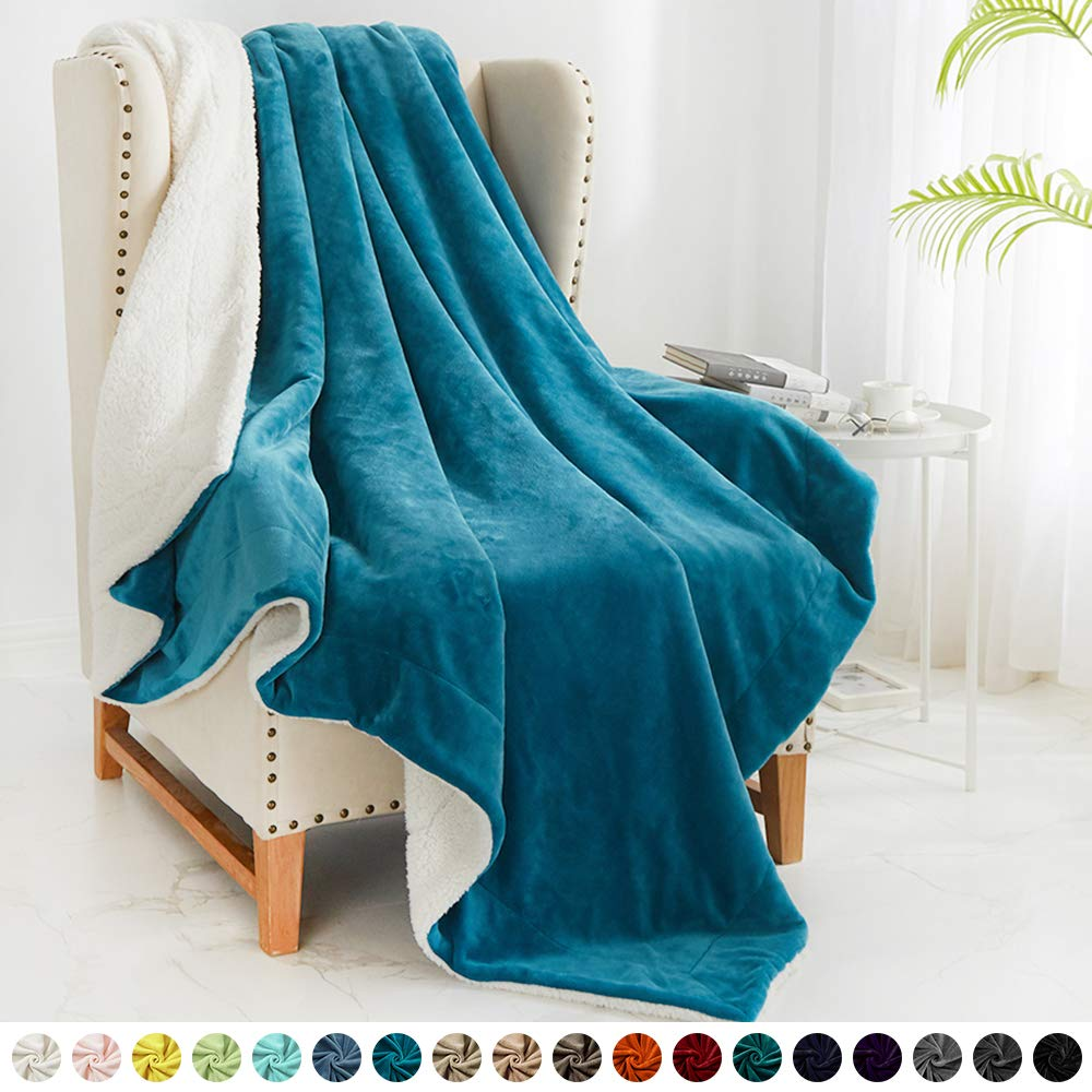 """Walensee Sherpa Fleece Blanket (Throw Size 50""""x60"""" Teal) Plush Throw Fuzzy Super Soft Reversible Microfiber Flannel Blankets for Couch, Bed, Sofa Ultra Luxurious Warm and Cozy for All Seasons"""