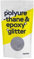 Hemway Metallic Glitter Floor Crystals for Epoxy Resin Flooring (500g) Domestic, Commercial, Industrial - Garage, Basement - Can be Used with Internal & External (Silver)