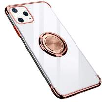 GRKJGytech iPhone 11 Pro Max Case with Ring Holder,Magnetic Car Clear Kickstand Slim Fit Soft Flexible TPU Silicone Protective Cover for iPhone 11 Pro Max 6.5inch (Rose Gold)
