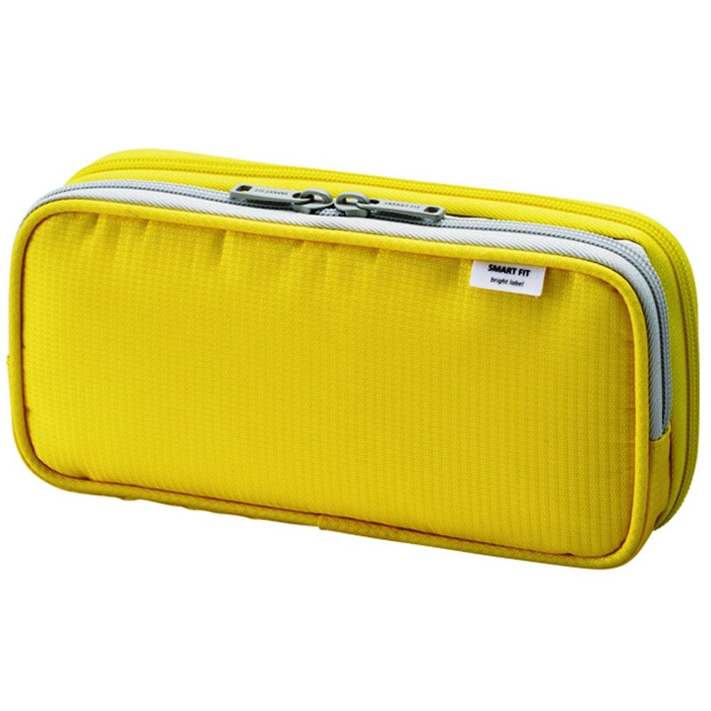 """LIHIT LAB. Double Pen Case, Large, 4.1 x 8.7"""", Yellow (A7661-5)"""