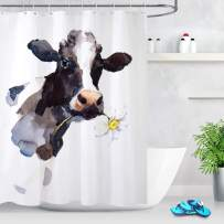 LB Creative Design Milk Cow Shower Curtain Watercolor Cow Head with Small Flower Funny Animal Shower Curtains for Kids Bathroom,72x72 Inch Waterproof Fabric with 12 Hooks