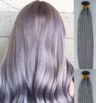 """Hair Faux You 18"""" Remy Straight Pre bonded Keratin U Tip Human Hair Extensions Professional Salon 100 grams 100 strands Per Package Color #Sterling Silver (Beautiful Silver Gray)"""