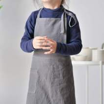 Karuilu Unisex Soft Cotton Linen Apron for Kids and Adult, for Home, Cooking, Baking, Crafting, Gardening, Art Project, Japanese-Inspired Style (Kids - S (Age 3-6), Charcoal)