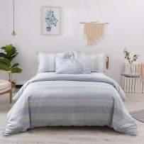 Merryfeel Linen Duvet Cover Set,100% French Linen Yarn Dyed Stripe Bedding Set,3 Pieces(1 Duvet Cover with 2 Pillowshams)- King- Blue Stripe Duvet Cover Set Luxury