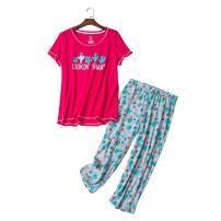 YIJIU Women's Short Sleeve Tops and Capri Pants Cute Cartoon Print Pajama Sets