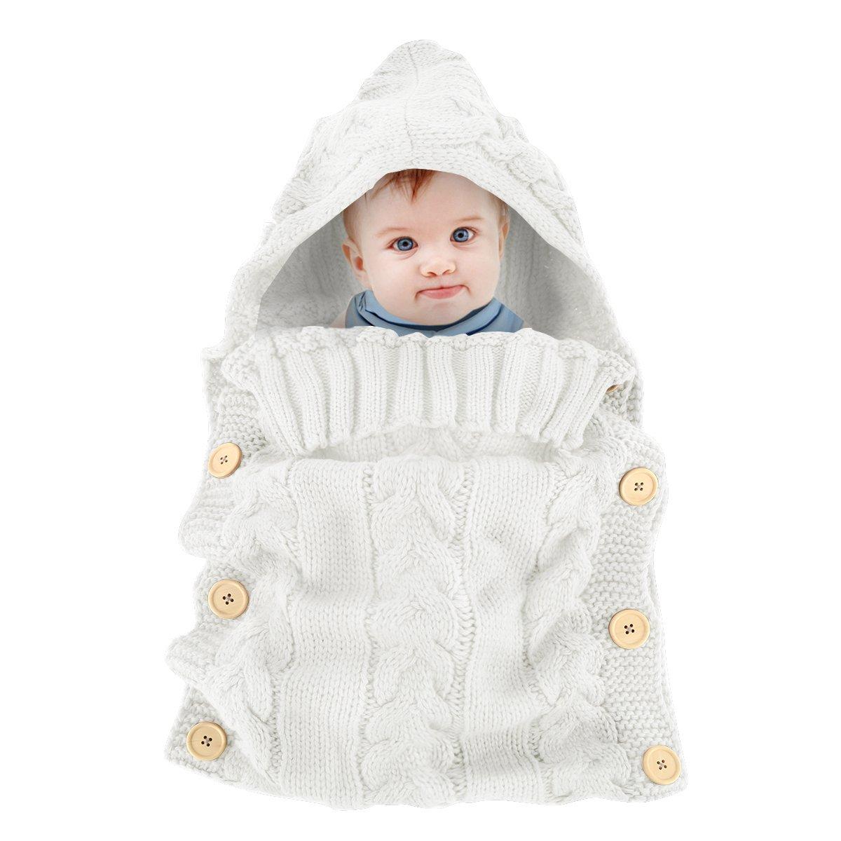 Colorful Newborn Baby Wrap Swaddle Blanket, Oenbopo Baby Kids Toddler Knit Blanket Swaddle Sleeping Bag Sack Sleep Bag Stroller Wrap for 0-12 Month Baby (White)