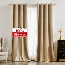 """Beige Velvet 100% Blackout Curtain 102 Inch Long, Grommet Top Drapes for Window Treatments Thermal Insulated Curtains for Bedroom, 1 Panel 42"""" W x 102"""" L"""