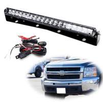 iJDMTOY Lower Grille 20-Inch LED Light Bar Compatible With 11-13 Chevy Silverado 1500, 2007-10 2500 3500 HD, Includes 100W High Power CREE LED Lightbar, Bumper Mount Brackets & Switch Wiring Kit