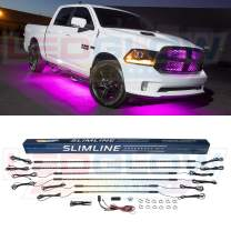LEDGlow 6pc Pink Truck Slimline LED Underbody Underglow Accent Neon Lighting Kit - Solid Color Illumination - Water Resistant, Low Profile Tubes - Included Power Switch Turns Lights On & Off