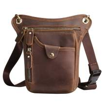 Leather Drop Leg Bag Sling Pack for Men Women Motorcycle Bike Outdoor Sports Crossbody Waist Fanny Pack Travel Hunting Hiking Camping Climbing Multi-pockets Pouch Brown