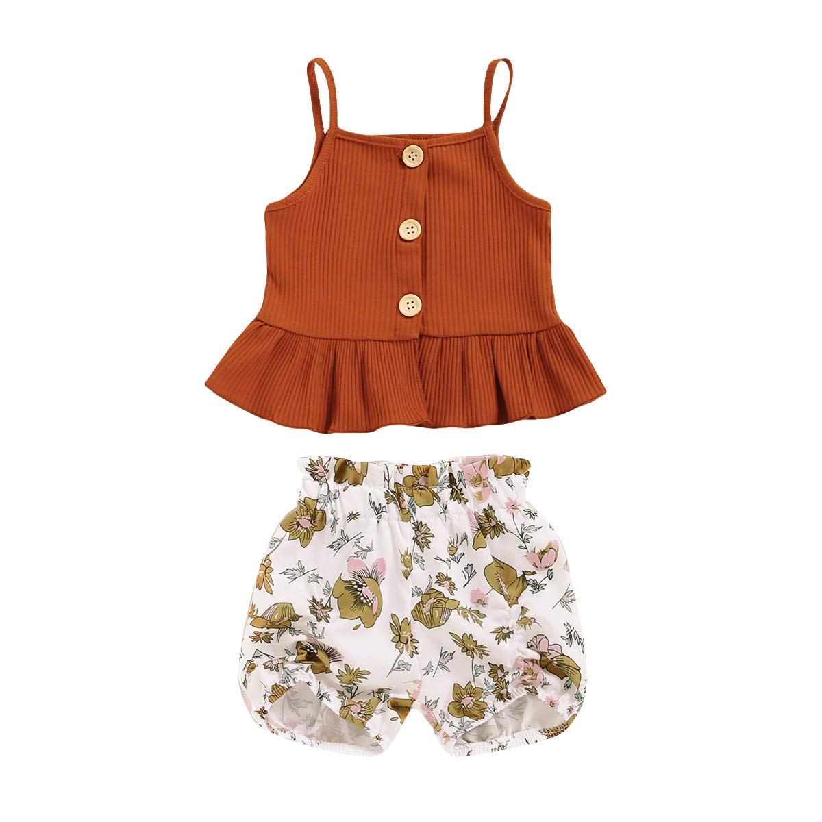 Toddler Girl Floral Top + Shorts 2PCS Outfits Clothing Set for Gilrs 1-4T