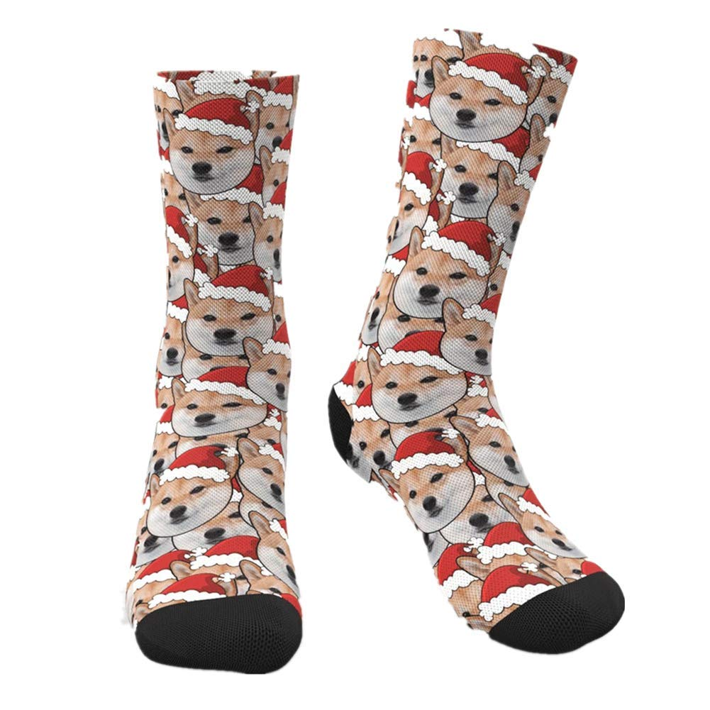 Custom Dog Face Socks Personalized Photo Name Colorful Crew Socks Funny Gift for Man Woman