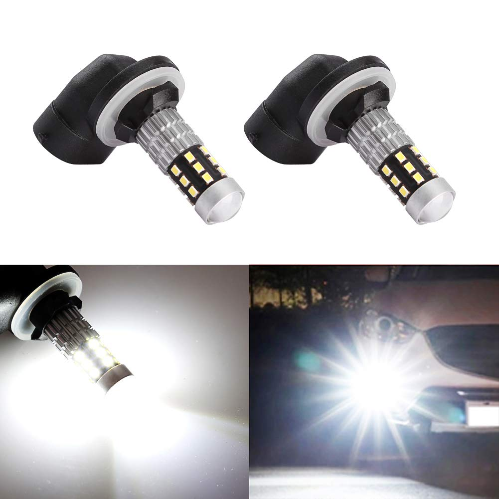 Morefulls 881 LED Fog Light bulbs With Projector, H27 Led fog lamp 360°Beam Angle Extremely Bright, Also Fit 889 862 886 Fog Lights or DRL (Set of 2)
