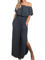 GAMISOTE Womens Floral Print Mini Dress V Neck Short Sleeve Boho Swing Dresses (XX-Large, 1-Navy)