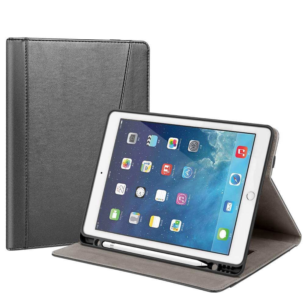Gshine Case for iPad 7th Generation, iPad 10.2 2019 Case, Full-Body Protective Rugged Shockproof Case with Built-in Hand Strap Holder & Pencil Holder,Auto Sleep/Wake - Black