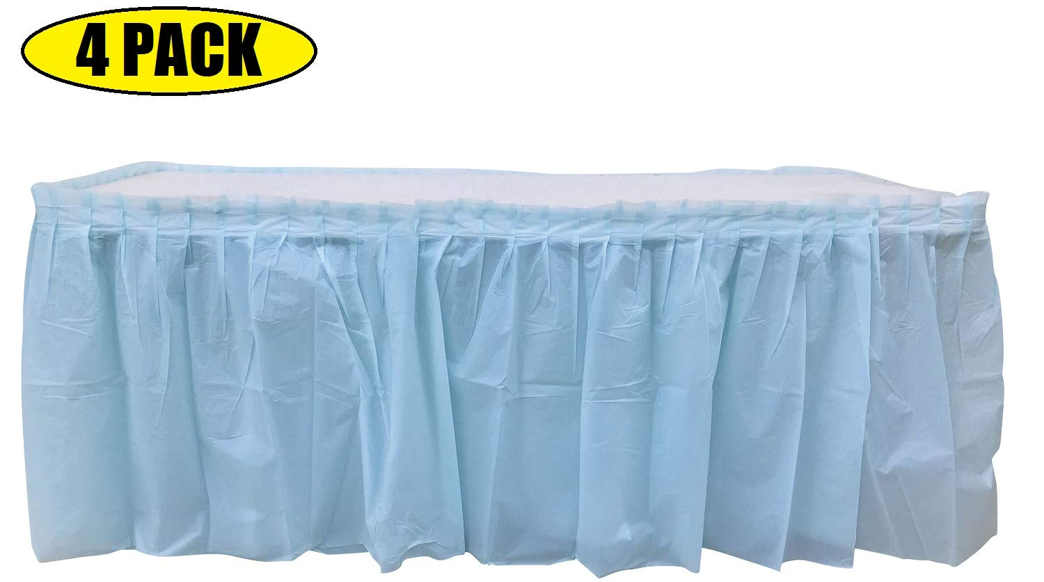4 Pack Light Blue Table Skirt Carnival, Circus, Birthday, office, party Decorations, Baby Shower, Gender Reveal