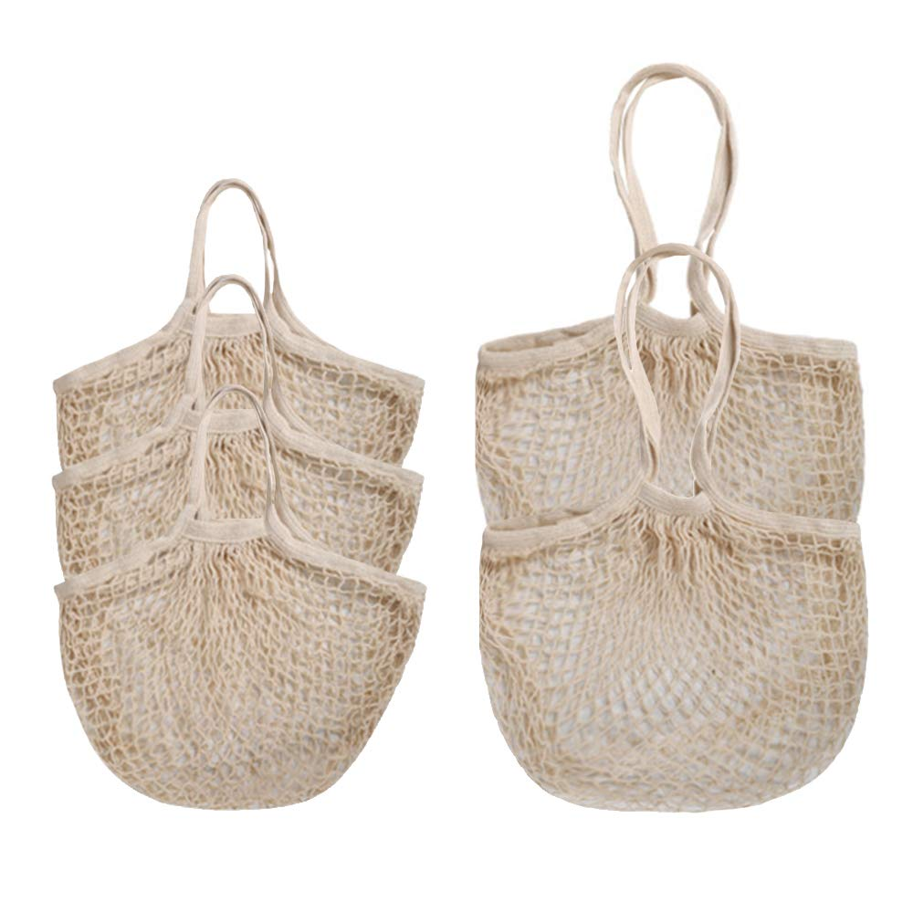 Reusable Produce Bags,esonmus 5 Pcs Mesh Cotton Bags with Handle for Grocery Shopping,Fruits,Veggies,Snack,Eco-Friendly,Biodegradable,Durable,Lightweight,Washable,Beige