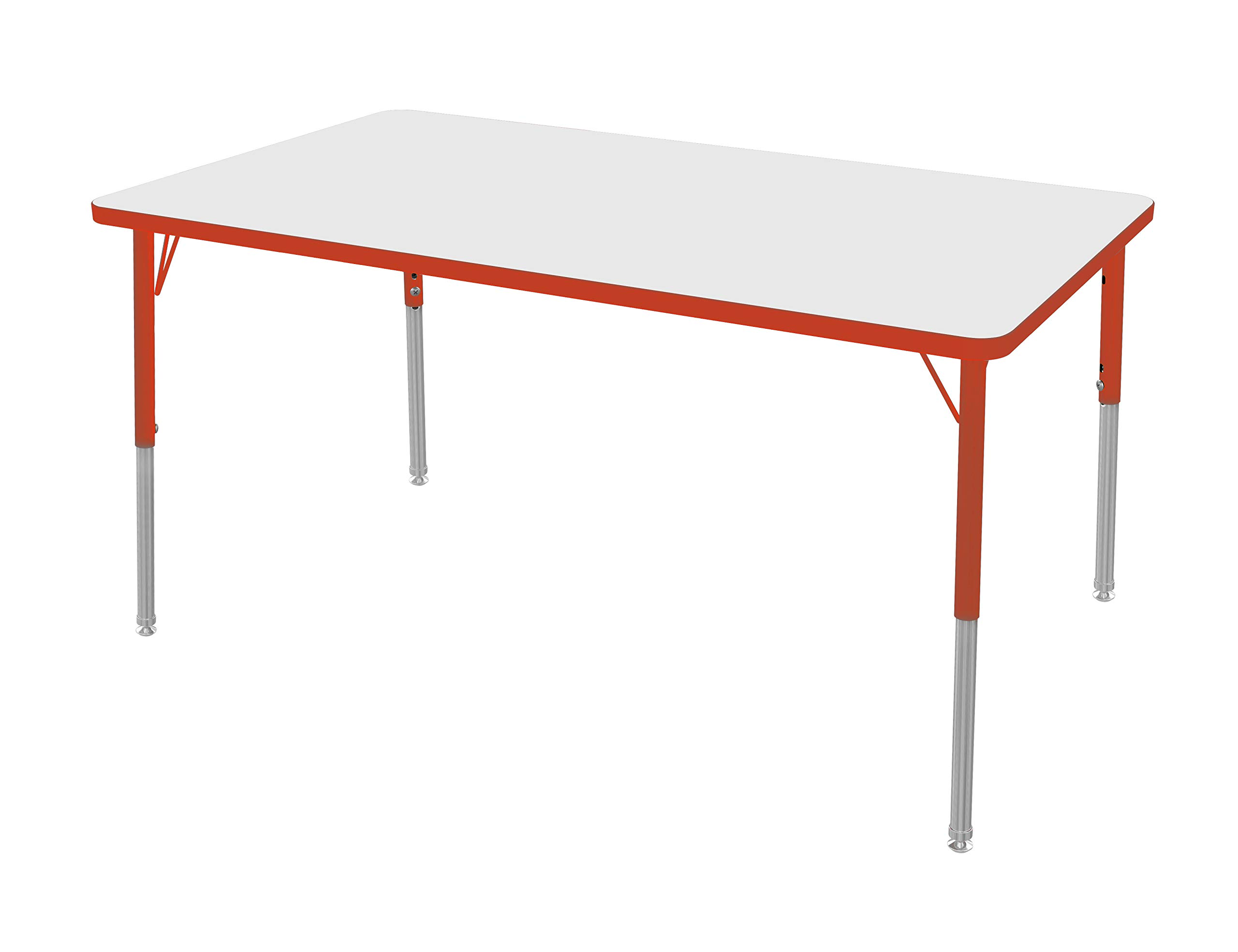 """Marco Group MGA2248-28-BRED 36"""" x 72"""" Rectangular Adjustable Height Classroom Activity Tables (21""""- 30"""") Standard Size, Dry Erase-Top, Red-Edge, Red Leg"""