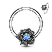 MoBody Opal Glitter Flower Captive Bead Ring 16G Surgical Steel Nose Ring Septum Body Piercing Hoop