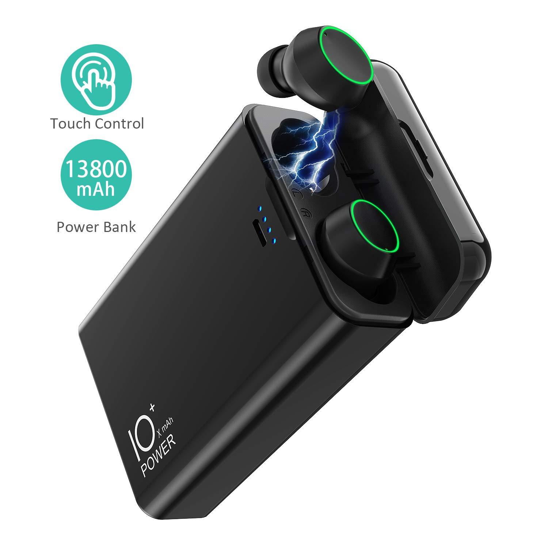 True Wireless Earbuds, Wireless Charging Case Bluetooth 5.0 Built-in Mic Earphones w 13800mAh External Battery Pack Power Bank 2.1A Output, HiFi Bass Stereo Sound Headset IPX7 Waterproof