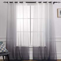 Ombre Sheer Curtains in Faux Linen Voile for Living Room and Bedroom Grommet Print Window Treatment Panels Dark Grey Gradient in The Bottom (2 Panels, W 52 × L96 Inches Length,Grey)