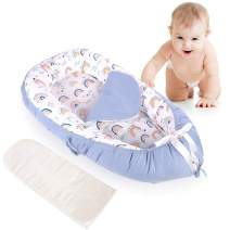 Detachable Baby Nest with Mattresses, Portable Newborn Lounger for Baby 0-24 Months, Soft, Machine Washable, Lightweight (Blue/Rainbow)