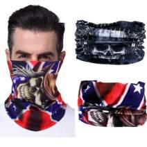 Fstrend Fashion Face Mask Outdoor Bandana Running Balaclava Neck Gaiter Elastic Tube Headwrap Sun Sport Windproof Headwear Scarf Dust Magic Headbands for Men and Women(2Pcs) Black