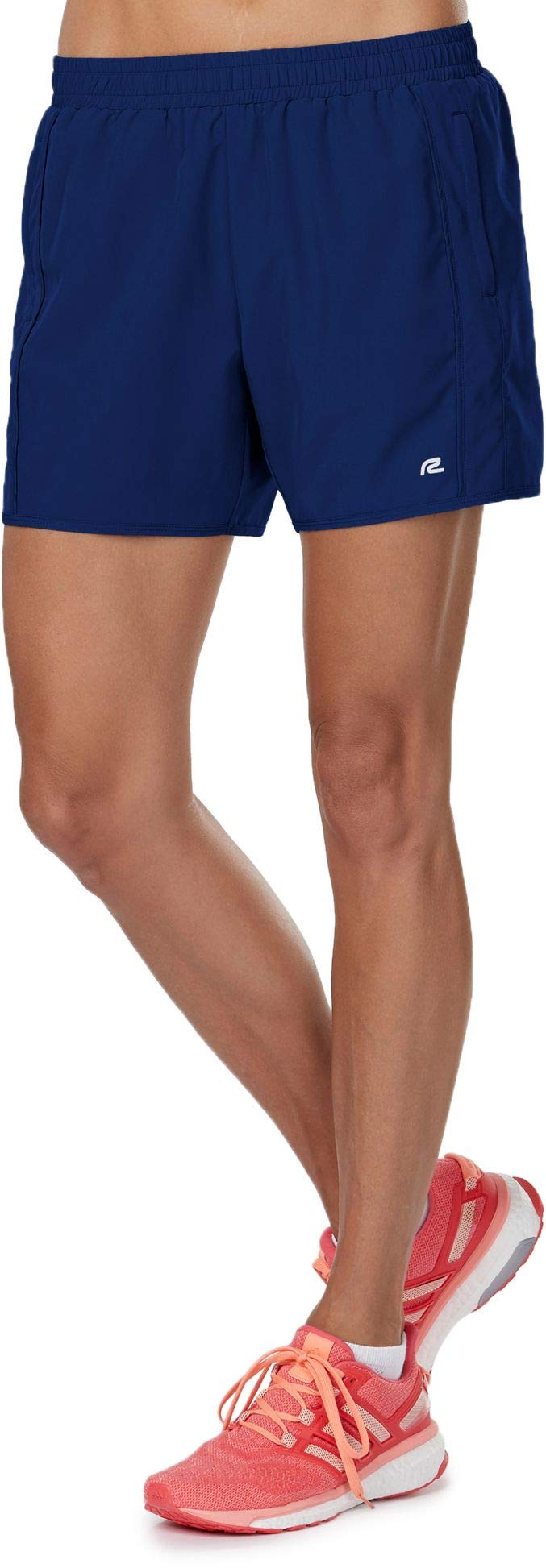 R-Gear Women's 5-Inch Running Workout Shorts with Zipper Pockets and Brief Liner for Sports, Gym, Casual   High Five