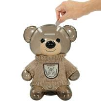 DreamsEden Cartoon Bear Piggy Bank, Cute Money Coin Bank with Knit Clothes Decor (Clear Saving Box, Beige)