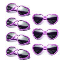 Neon Colors Party Favor Supplies Wholesale Heart Sunglasses (7 Pack Purple)