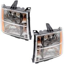 Replacement Driver and Passenger Set Headlights Compatible with 2007-2014 Sierra Pickup Truck
