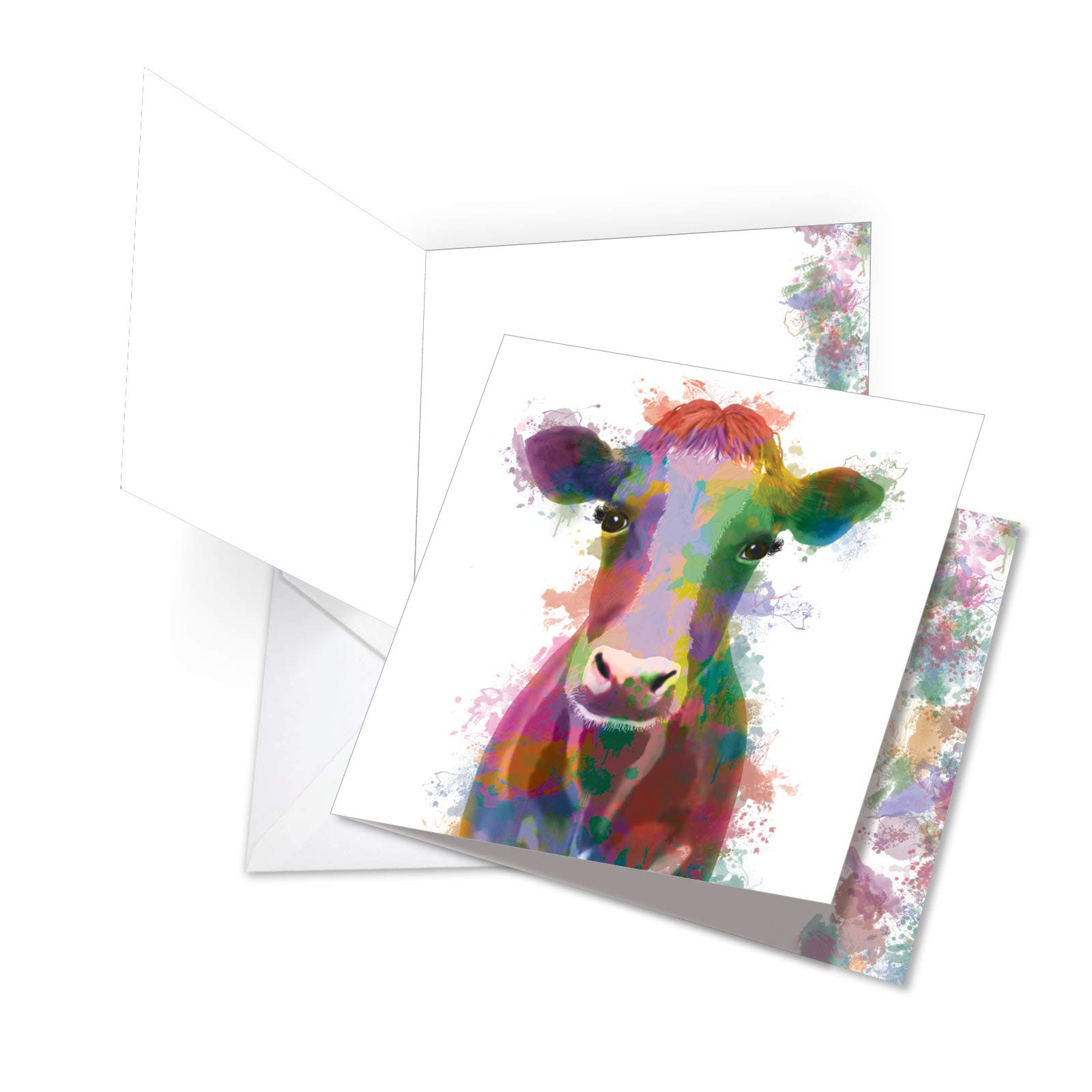 Funky Rainbow Wildlife Thank You - Big Thank You Card with Envelope (Large 8.25 x 9.75 Inch) - Colorful Watercolor Animal Appreciation Greeting Notecard - Gratitude, Thanks Stationery JQ4948ETYG