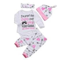 Newborn Infant Baby Girls Clothes Long Sleeve Letter Romper Arrow Heart Pants Hats Headband 4Pcs Outfits Set