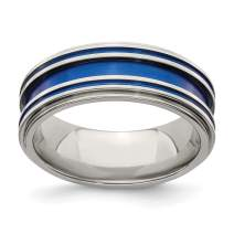 ICE CARATS Edward Mirell Titanium Grooved Blue Anodized 8mm Wedding Ring Band Man Fashion Jewelry for Dad Mens Gifts for Him