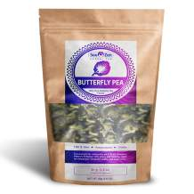 Sou Zen Butterfly Pea Flowers (80 g) Dried Tea Leaves   Natural, Raw Drink Mix w/ Antioxidants, Organic Nootropics   Promotes Relaxing Calm, Stress Relief   Thai Herbal