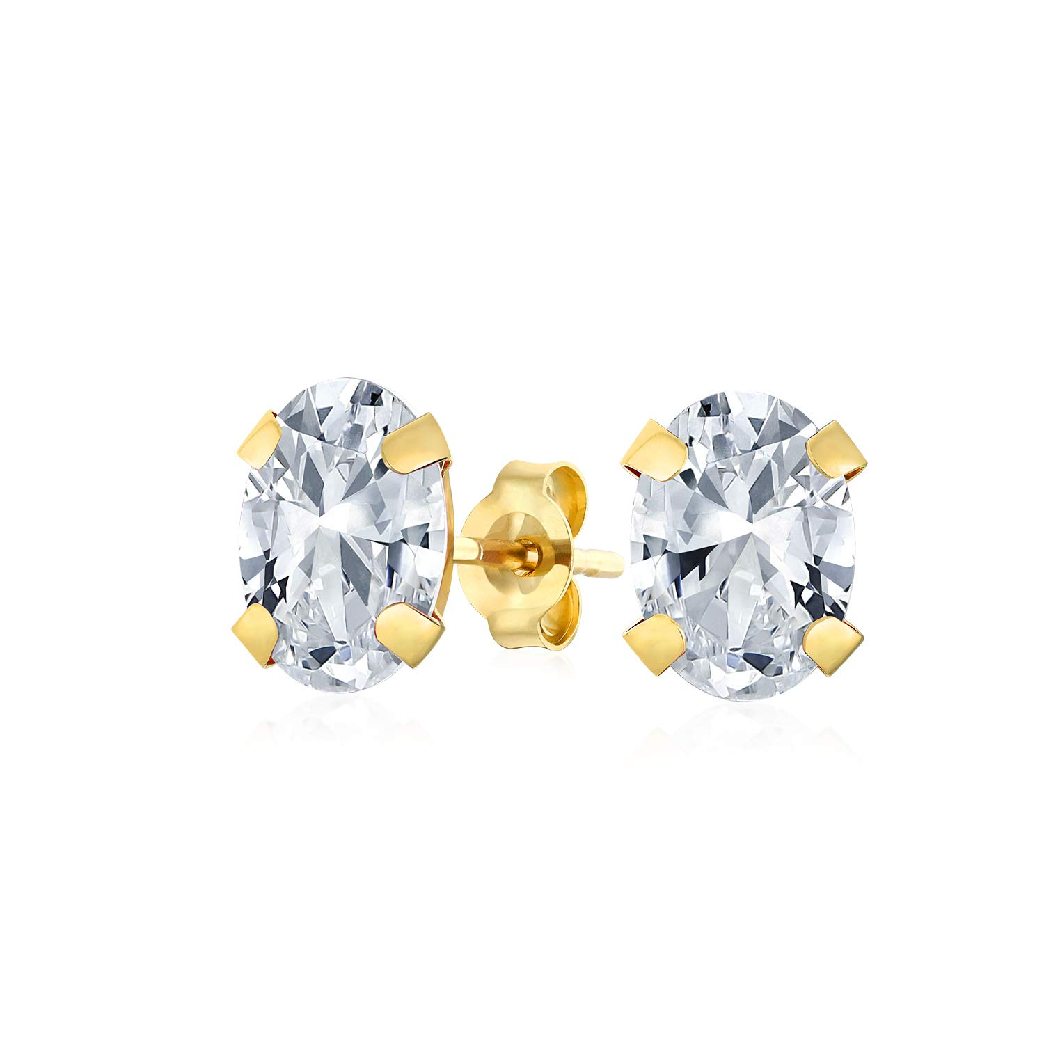 1.6CT Oval Created or Genuine Gemstone Stud Earrings For Women Teen 14K Yellow Real Gold 7x5 MM More Birthstone Colors