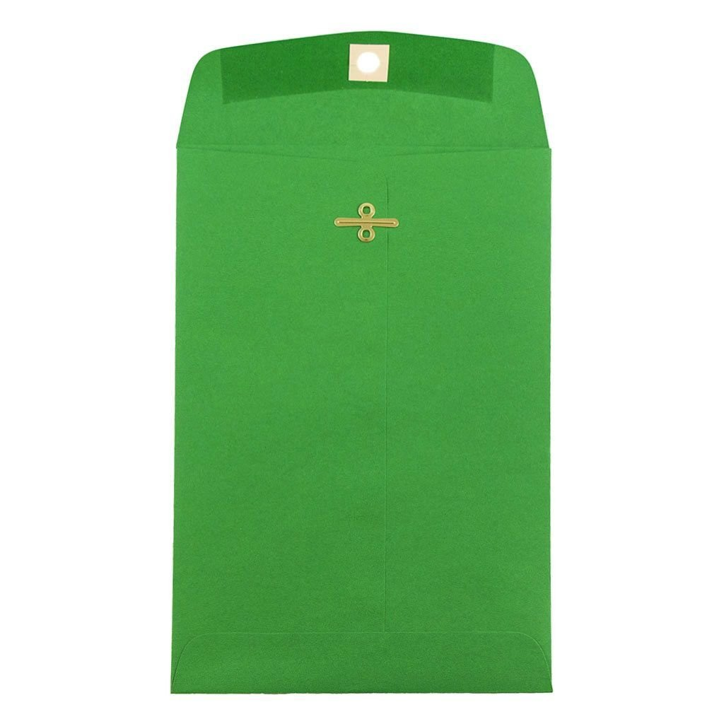 JAM PAPER 6 x 9 Open End Catalog Colored Envelopes with Clasp Closure - Green Recycled - 50/Pack