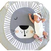 Abreeze Kids Nursery Rug Lion Shaped Play Mat Round Carpet Cartoon Lion Design Home Room Decor 35X37 inches