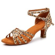 SWDZM Women's Standard Satin Latin Dance Shoes Ballroom Performance Shoes Model-WH1213