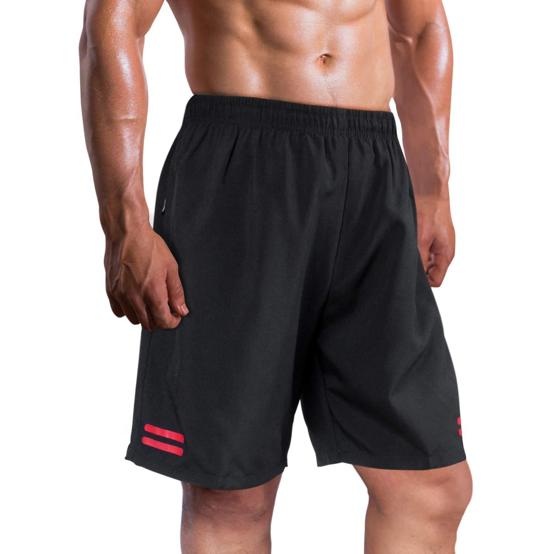 UDAREIT Mens Workout Running Shorts Zipper Pockets Lightweight Athletic Training Shorts Quick Dry