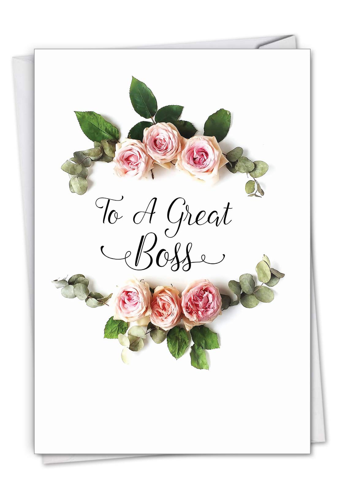 The Best Card Elegant Flowers - Boss's Day Greeting Card (4.63 x 6.75 Inch) With a flowery sentiment with appreciation for the boss C4175ABOG