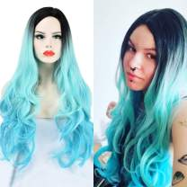 SEIKEA Synthetic Hair Wig 30 Inch Long Wavy Curly Women Hair Color Ombre Parting in Side with Root - Teal