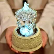 LOVE FOR YOU Crystal Carousel Music Box Color Change LED Light Luminous Rotating 3-Horse Musical Box as Christmas Birthday Valentine's Children's Gifts,Castle in The Sky Tune(Hand Spun Glass)