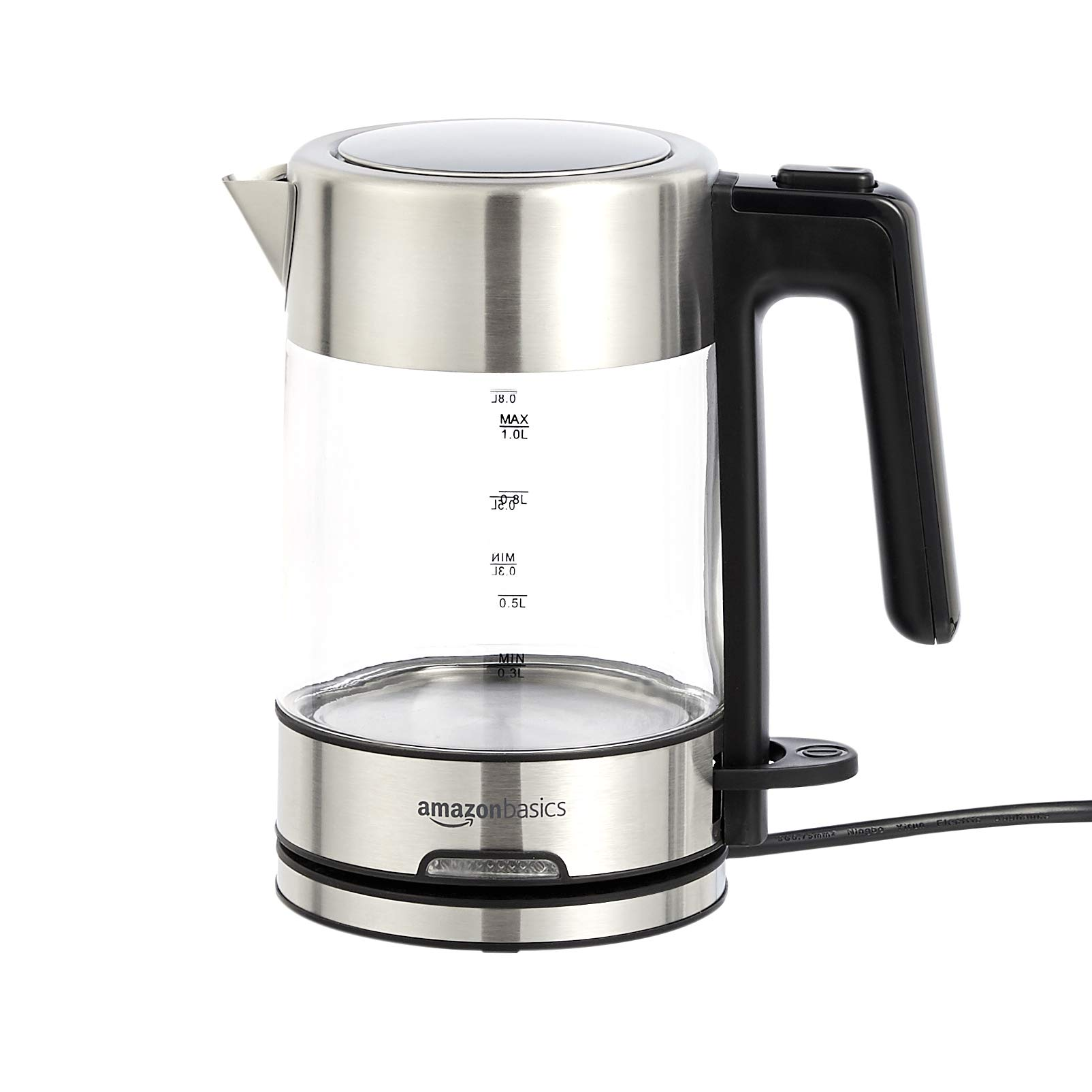 Amazon Basics Electric Glass and Steel Kettle - 1.0 Liter