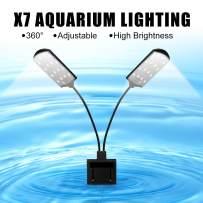 WEAVERBIRD X7 Gemini Double Head Aquarium Fish Tank Light 15W 32 LED Aquarium Planted Clip Lamp 1600LM White LED Lighting for 8-15 Inch Fish Tank
