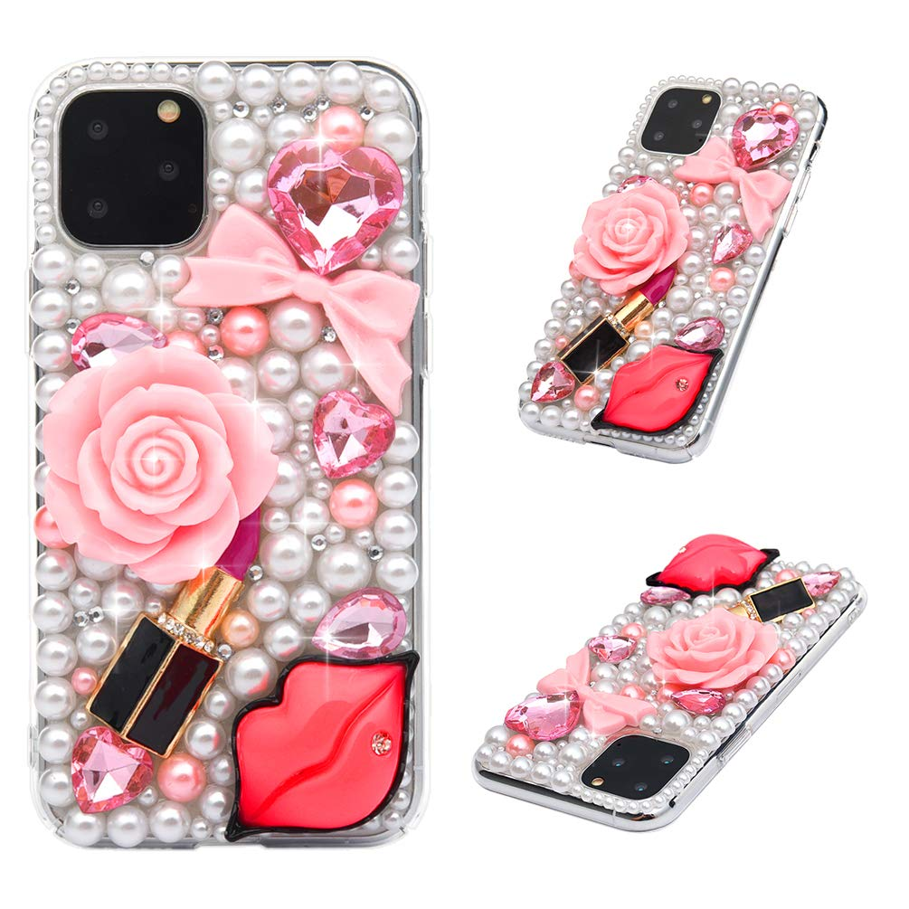iPhone 11 Pro Case, Mavis's Diary 3D Handmade Luxury Bling Sexy Red Lips Lipstick Pink Bow Love Heart Rose Flower Floral Shiny Crystal Diamond Glitter Rhinestones Gems Clear Hard PC Cover
