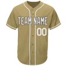 Pullonsy Gold Custom Baseball Jersey for Men Women Youth Game Embroidered Name & Numbers S-8XL - Design Your Own